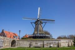 Старая ветрянка в историческом городе Sloten Стоковые Фотографии RF