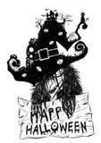 Старая ведьма в предпосылке хеллоуина Стоковое Фото