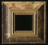 Старая, винтажная, античная рамка изолированная на черной предпосылке Стоковое фото RF