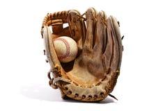 Старая винтажная кожаная перчатка бейсбола Стоковая Фотография