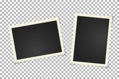 Старая винтажная рамка фото на прозрачной предпосылке Горизонтальная и вертикальная пустая старая фотография на липкой ленте Диза иллюстрация штока
