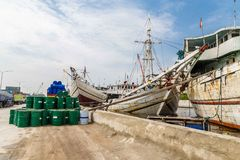 Старая гавань Джакарты, Ява, Индонезии стоковое изображение