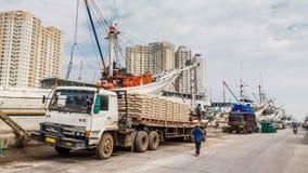 Старая гавань Джакарты, Ява, Индонезии стоковые фото