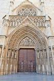 Старая готическая дверь, обмен Lonja de Ла Seda Шелка, Валенсия стоковое фото
