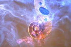Старая голова скрипки передала с покрашенным дымом и пламенами Стоковое фото RF