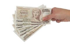 Старая греческая валюта 1000 драхм банкнот стоковые изображения rf