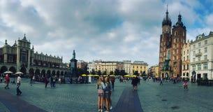 Старая главная площадь в Кракове, Польша городка Стоковые Фото