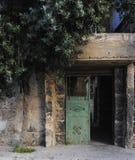 Старая дверь и оливковое дерево стоковые фотографии rf