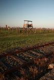Старая деревянная башня предохранителя, Освенцим стоковые фотографии rf