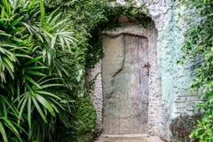 Старая деревянная дверь в утесе Стоковые Фотографии RF