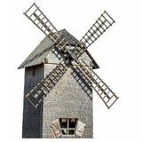 Старая деревянная изолированная ветрянка Стоковые Фотографии RF