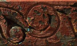 Старая деревянная предпосылка с картиной Стоковое фото RF