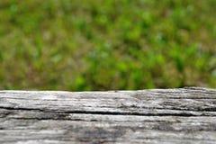 Старая деревянная скамья на нерезкости свежего зеленого конспекта стоковые изображения