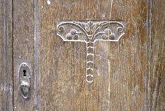Старая деревянная текстура двери шкафа Стоковое фото RF