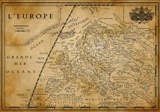 Старая европейская карта на старой бумаге Стоковые Изображения RF