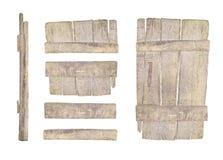 Старая деревянная дверь изолированная на белизне Стоковые Изображения RF