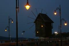 Старая деревянная ветрянка, старый городок Nessebar, Болгария Стоковое Изображение