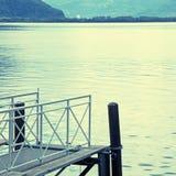 Старая деревянная мола на женевском озере Стоковые Фотографии RF