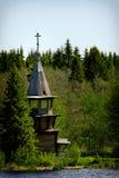 Старая деревянная православная церков церковь, остров Kizhi, Karelia, Россия Стоковое Изображение