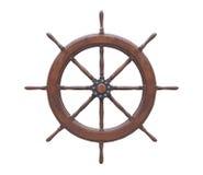 Старая деревянная предпосылка белизны рулевого колеса Стоковые Изображения RF