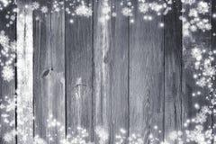 Старая деревянная предпосылка рождества Снежинки на worn досках ново Стоковое Изображение