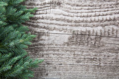 Старая деревянная предпосылка с ветвью сосны, изображением доски настила Стоковая Фотография