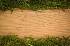 Старая деревянная предпосылка текстуры пола с зелеными листьями Стоковое Фото