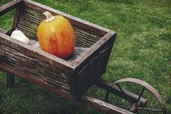 Старая деревянная тележка с тыквами Стоковые Фотографии RF