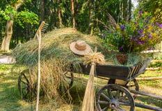 Старая деревянная тележка с цветками Стоковая Фотография RF