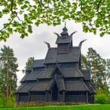Старая деревянная церковь в музее Осло людей Стоковые Изображения RF