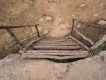 Старая деревянная часть лестницы, внешняя Стоковые Изображения RF