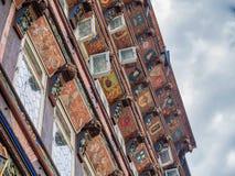 Старая деталь дома на квадрате manin в Хильдесхайме, Германии Стоковые Фотографии RF