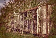 старая железнодорожная фура деревянная стоковое изображение