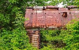 Старая железнодорожная фура захваченная вегетацией Стоковая Фотография RF