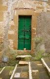 Старая зеленая деревянная дверь с шагами Стоковое фото RF