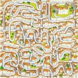 Старая игра лабиринта городка Стоковая Фотография RF