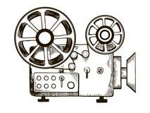 Старая иллюстрация вектора гравировки репроектора фильма Стоковая Фотография