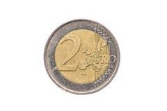 Старая используемая и, который носимая вне монетка евро 2 Стоковое Изображение