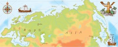 Старая карта Викингов военно-морского флота иллюстрация штока