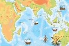 Старая карта военно-морского флота иллюстрация штока