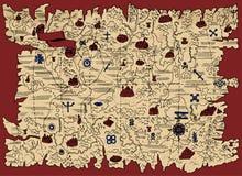 Старая карта земли фантазии с сокровищами пирата и знамени виньетки на красном цвете иллюстрация штока