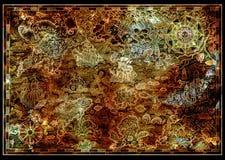 Старая карта острова сокровища с землей фантазии, пиратскими кораблями, мифологическими тварями на текстуре иллюстрация штока