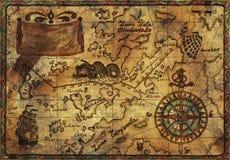 Старая карта пирата с влиянием текстуры ткани Стоковое фото RF