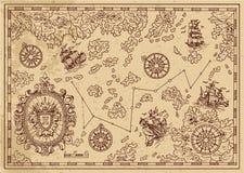 Старая карта пирата с декоративными рамкой, кораблями плаваний и островами иллюстрация штока