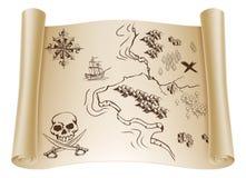 Старая карта сокровища на перечене иллюстрация штока