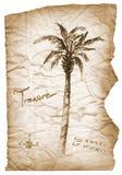 Старая карта сокровища с сгоренный, края на белизне Стоковые Фотографии RF