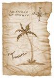 Старая карта сокровища с сгоренный, края на белизне Стоковые Изображения RF