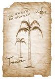 Старая карта сокровища с сгоренный, края на белизне Стоковое фото RF