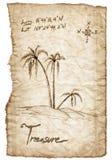 Старая карта сокровища с сгоренный, края на белизне Стоковая Фотография