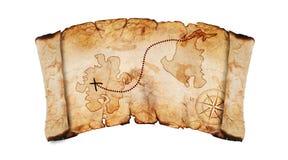 Старая карта сокровища Стоковая Фотография